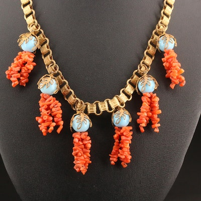 Vintage Miriam Haskell Coral and Glass Drop Necklace