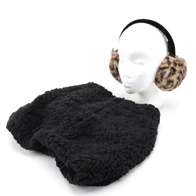 INC Faux Fur Leopard Print Earmuffs and Black Infinity Scarf