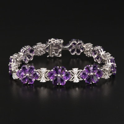 Sterling Silver Amethyst and White Topaz Link Bracelet with Foliate Pattern