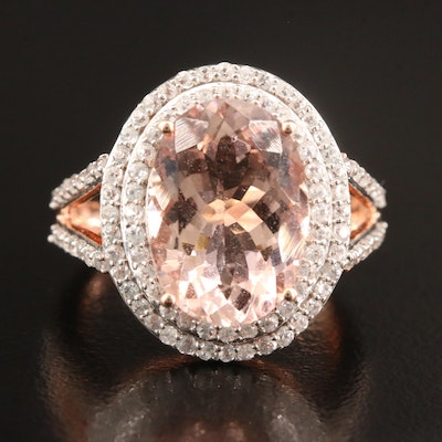 14K Rose Gold Morganite and White Zircon Oval Ring