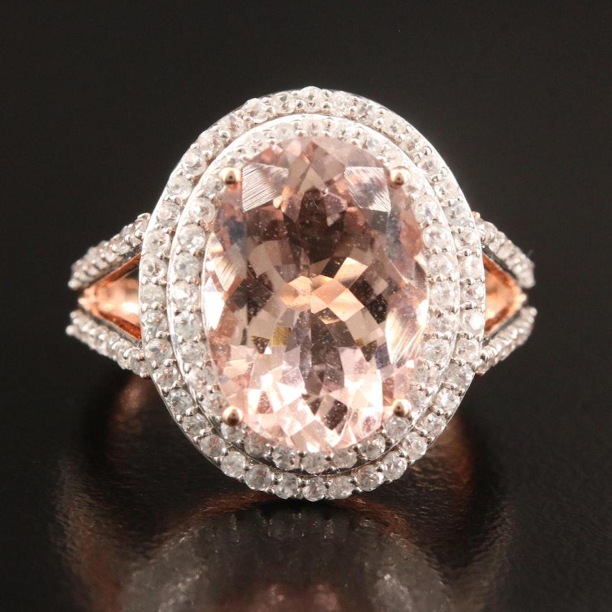 14K Rose Gold Morganite and White Zircon Oval Ring
