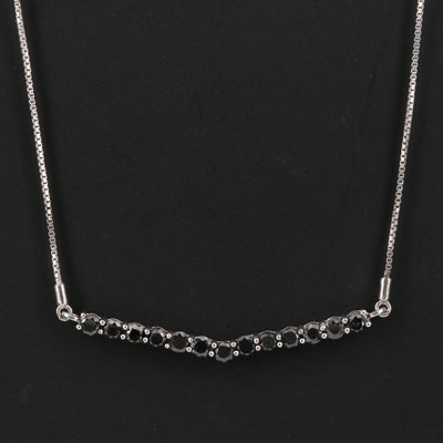 Sterling Silver 2.03 CTW Black Diamond Chevron Necklace