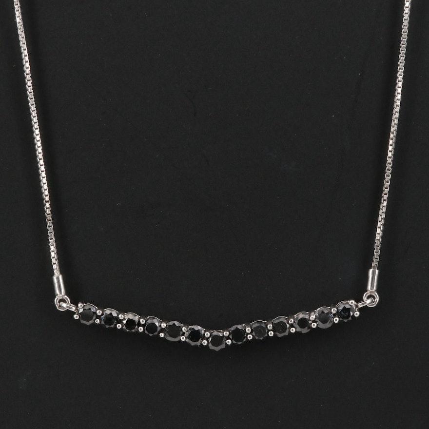 Sterling Silver 2.03 CTW Black Diamond Chevron Necklace