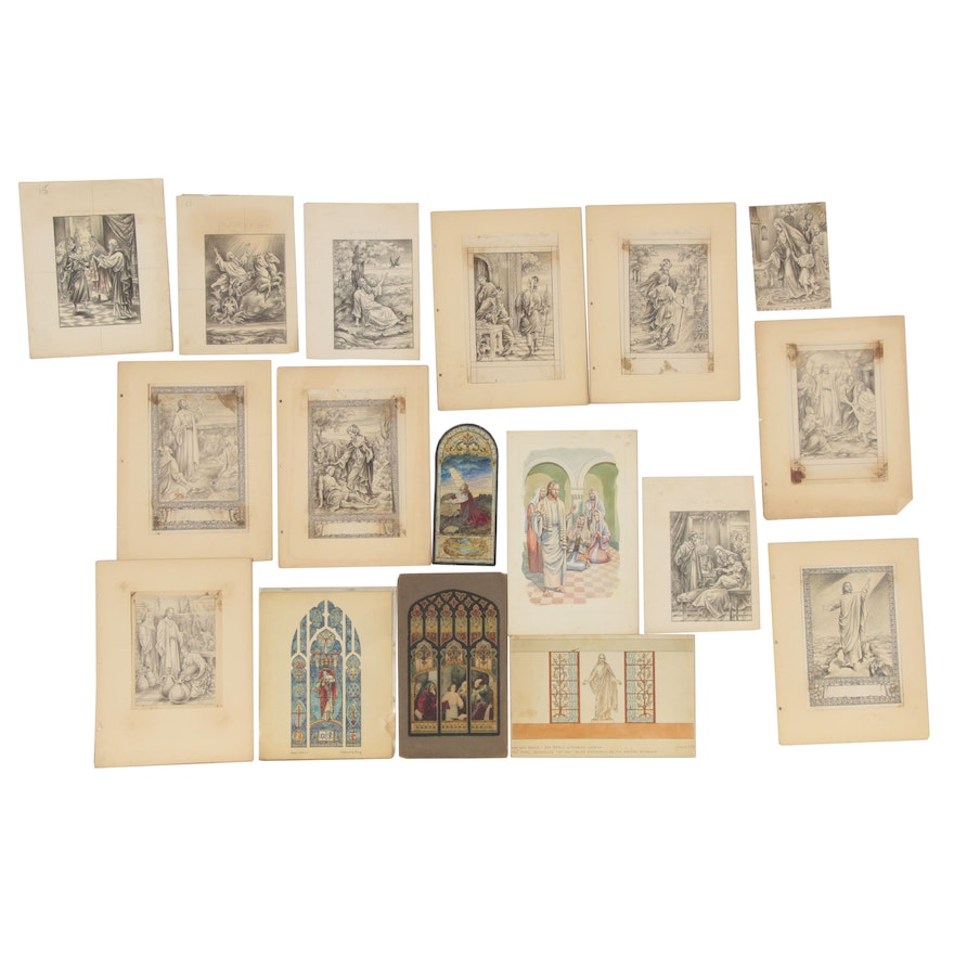 Graphite and Ink Drawings and Watercolor Paintings of Biblical Scenes