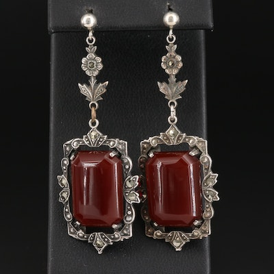 Art Deco Sterling Silver Sard and Marcasite Drop Earrings