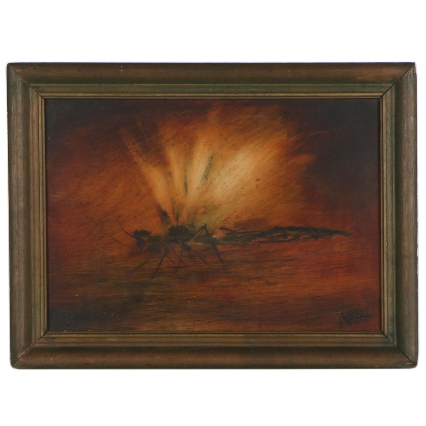 """Abstract Oil Painting """"Dragonfly,"""" 1945"""