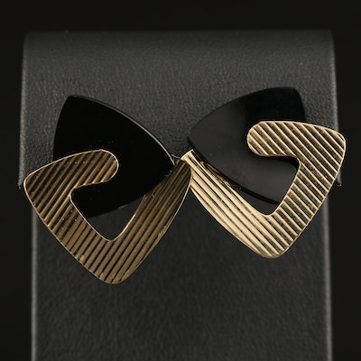 14K Black Onyx Interlocking Triangular Button Earrings