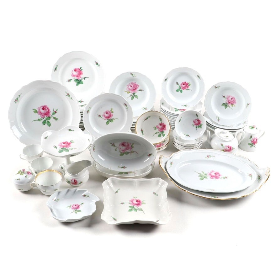 "Meissen ""Rose Pink"" Porcelain Dinner and Serveware, 19th Century"