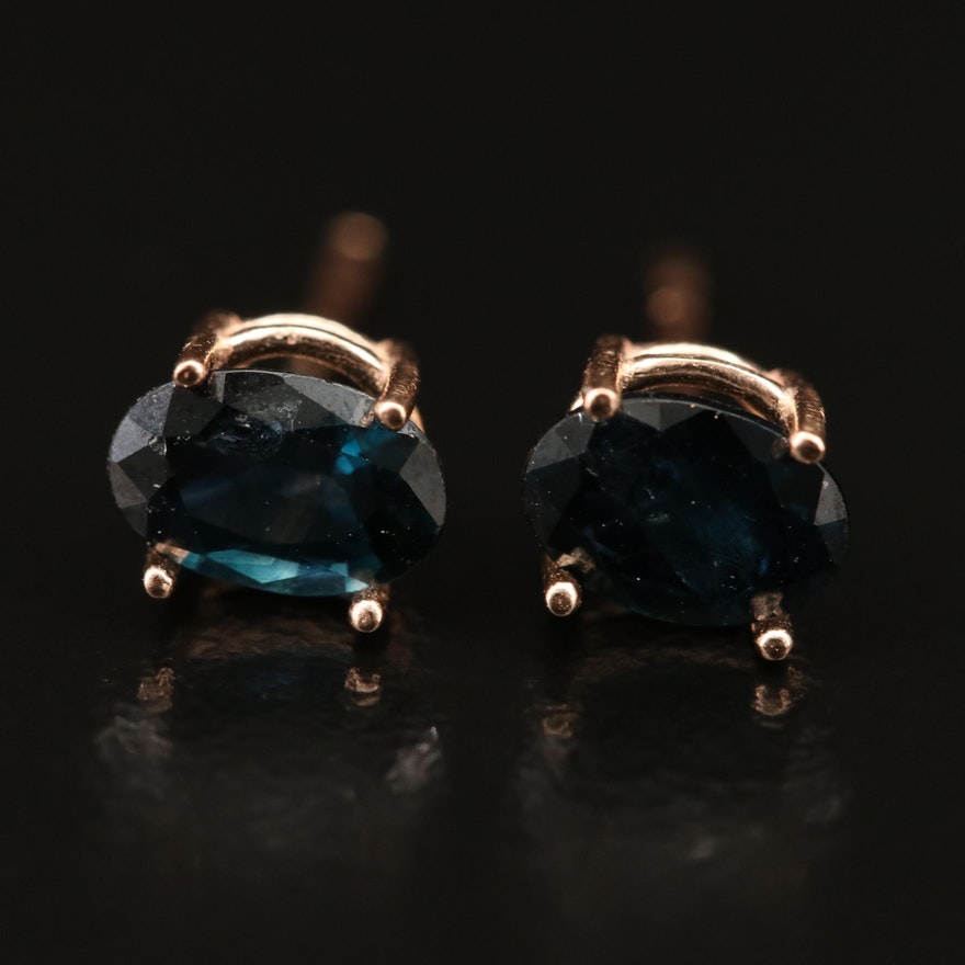 14K Rose Gold Oval Faceted Sapphire Stud Earrings