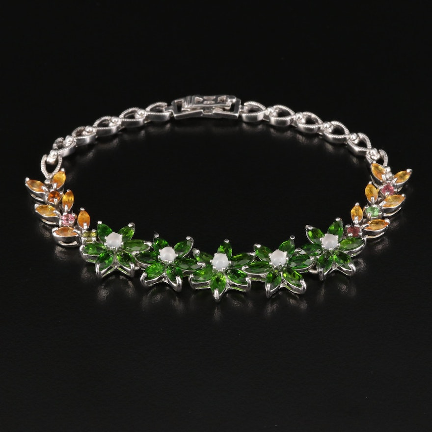 Sterling Silver Moonstone, Diopside and Sapphire Floral Bracelet