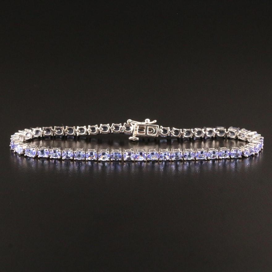 Sterling Silver Tanzanite Link Bracelet