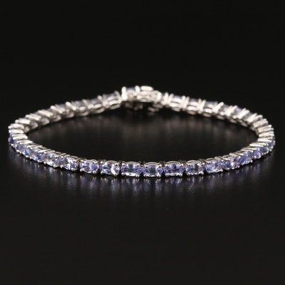 Sterling Oval Faceted Tanzanite Line Bracelet