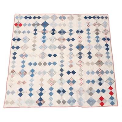 "Handmade ""Diamond Four Patch"" Pieced Quilt, Mid-20th Century"