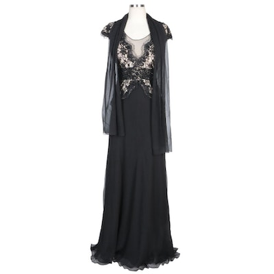 Alberto Makali Black Silk Blend Gown with Beaded Lace Bodice Overlay and Wrap
