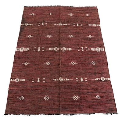 Handwoven Moroccan Wool and Cotton Blanket, circa 1966