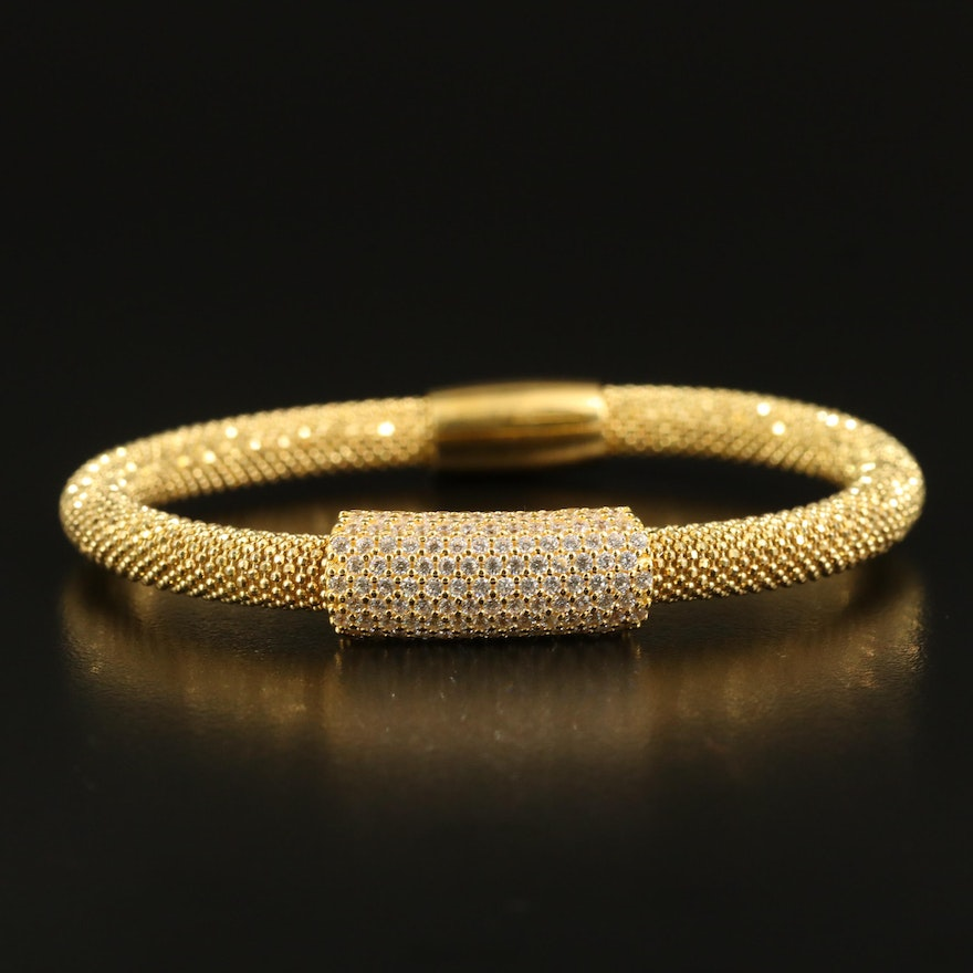 Sterling Flexible Mesh Bracelet with Cubic Zirconia Accent