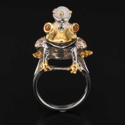 Sterling Silver Opal, Emerald and Sapphire Frog Prince Ring