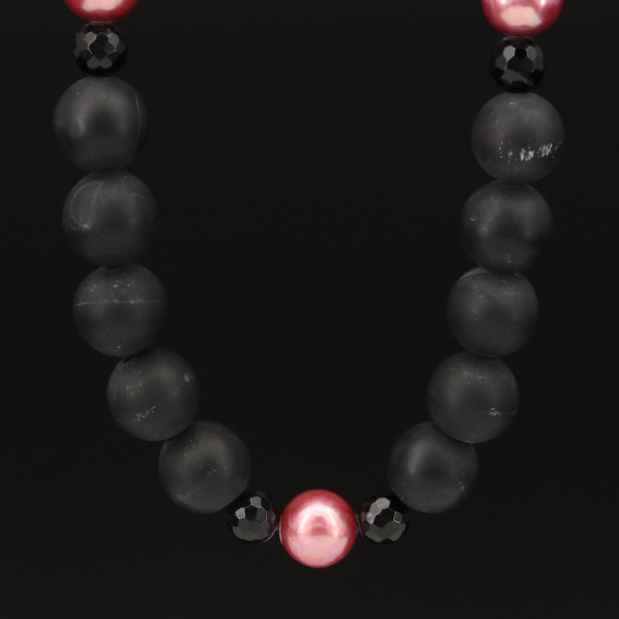 Black Onyx and Pearl Beaded Necklace with 14K Clasp
