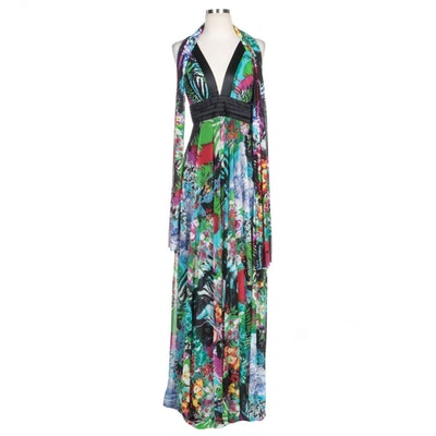 Alberto Makali Floral Sequin Embellished Gown with Wrap