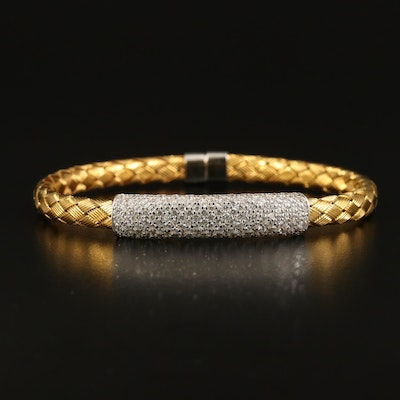 Woven Bangle with Sterling Cubic Zirconia Accent