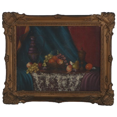 Still Life Oil Painting with Fruit, 20th Century