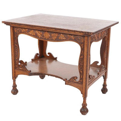 American Relief-Carved and Quartersawn Oak Parlor Table, circa 1900