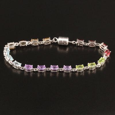 Sterling Silver Amethyst, Citrine and Garnet Link Bracelet