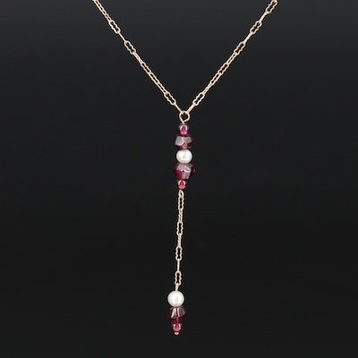 10K Garnet and Pearl Lavalier Necklace