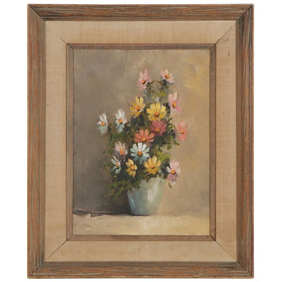 Dale Keiser Still Life Oil Painting with Flowers, Mid-20th Century