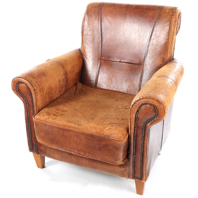 Leather Upholstered Arm Chair with Nailhead Trim, Mid to Late 20th Century