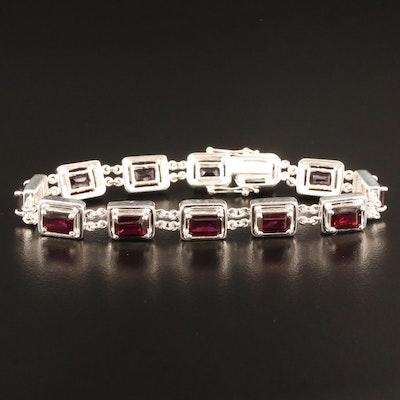 Sterling Silver Garnet Rectangular Link Bracelet