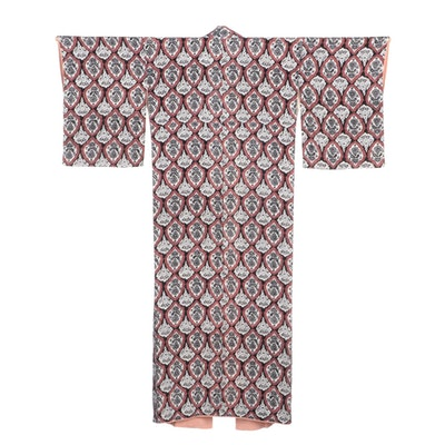 Japanese Black, Pink and White Foliate Silk Komon Kimono, Showa Period