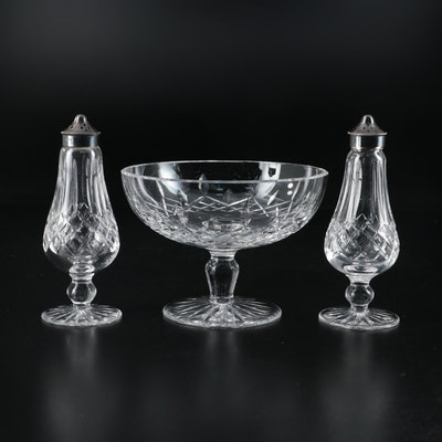 """Waterford Crystal """"Lismore"""" Compote and Salt and Pepper Shakers"""