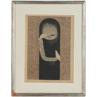 """Kaoru Kawano Woodblock """"Small Bird"""""""