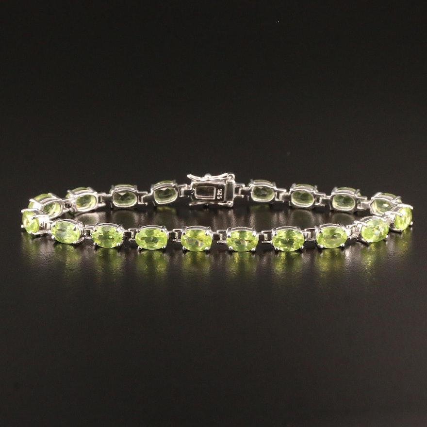Sterling Silver Peridot Link Bracelet
