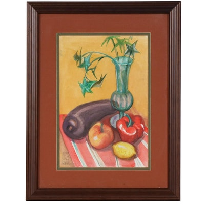 Joan Fistick Watercolor Painting of Vegetable Still Life