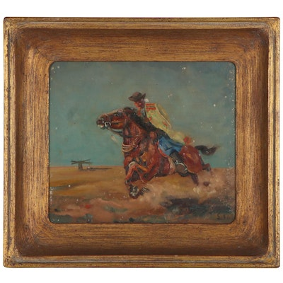 Western Genre Oil Painting of a Cowboy, Mid-20th Century
