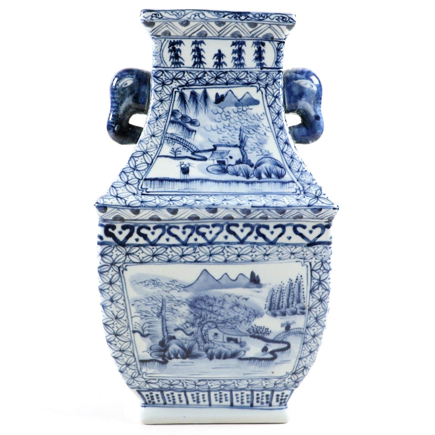 Chinese Blue and White Porcelain Vase with Elephant Handles