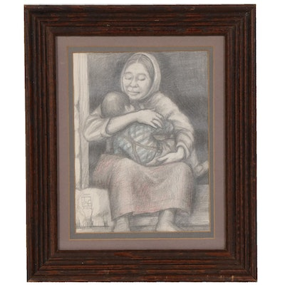 Joan Fistick Pencil Drawing of Mother and Child