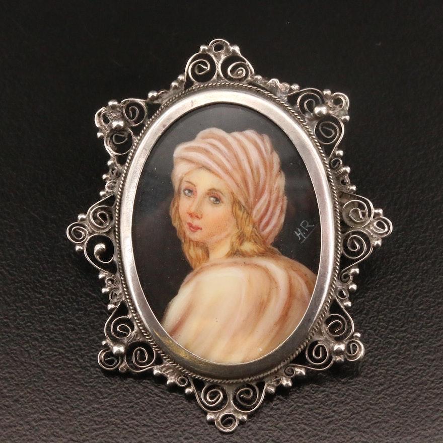 Vintage Signed 800 Silver Hand Painted Portrait Converter Brooch
