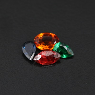 Loose Mixed Gemstones with Citrine, Garnet and Sapphire