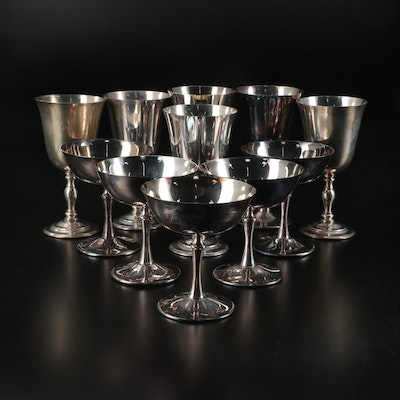 Crescent and Other Silver Plate Champagne Coupes and Goblets