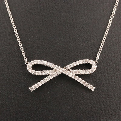 14K 1.02 CTW Diamond Bow Pendant Necklace