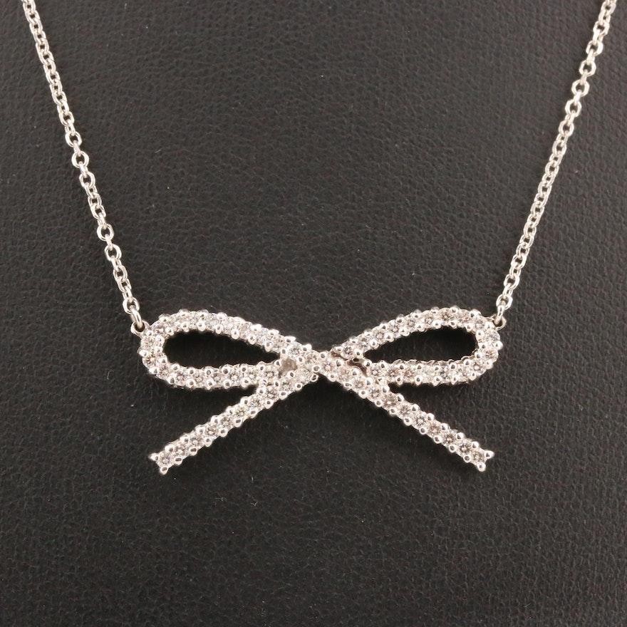 14K 1.02 CTW Diamond Bow Pendant Necklace