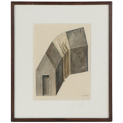 Industrial Watercolor Painting of an Air Duct, 1989