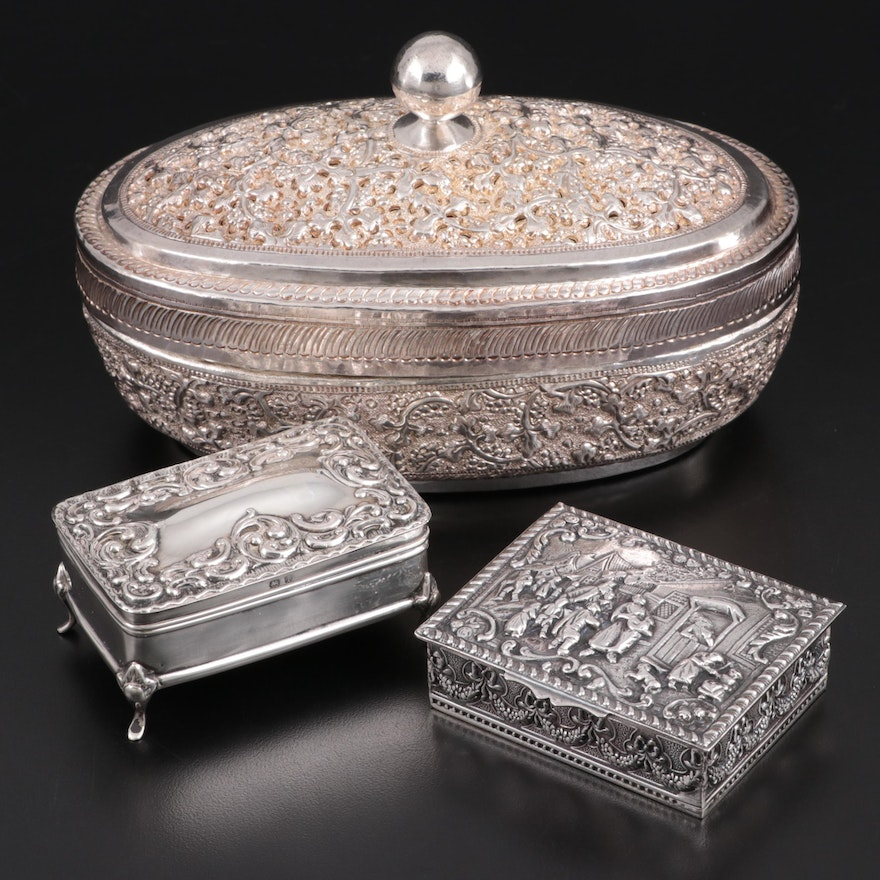 Henry Matthews and Other Repoussé Sterling Silver Boxes, Early-Mid 20th Century