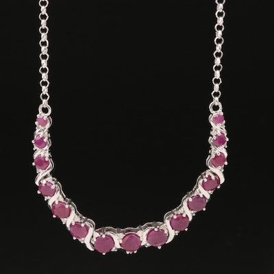 Sterling Corundum and Diamond Necklace