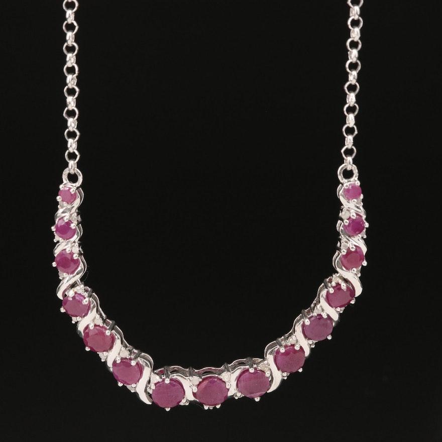 Sterling Corundum and Diamond Necklace