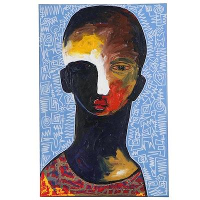 "Abiola Idowu Mixed Media Painting ""Success Story I,"" 2020"