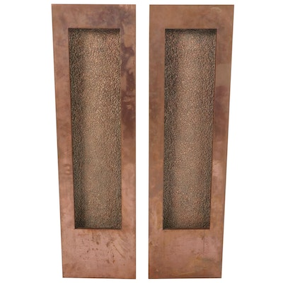 Pair of Contemporary Illuminated Copper Framed Wall Mounted Fountains